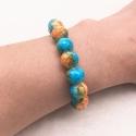 Bracelet style marbre bleu ciel et orangé