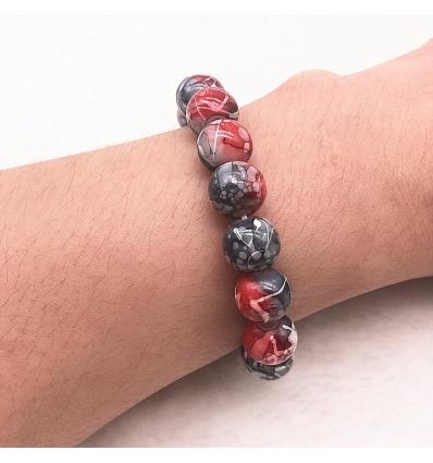 Bracelet style marbre - noir et cerise