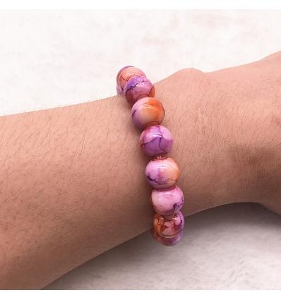 Bracelet style marbre - violet et orangé