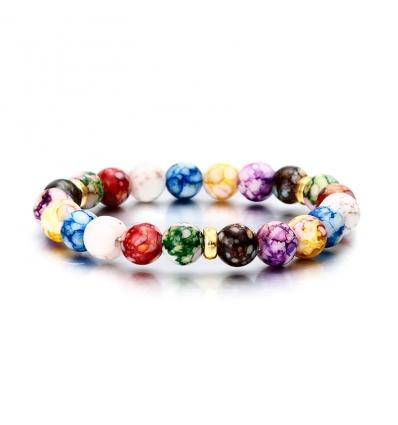 Bracelet pierre Améthyste - multicolors avec séparateurs de perles or