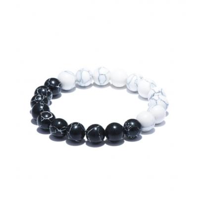 Bracelet Pierre Naturelle - noir et blanc
