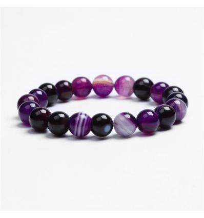 Bracelet pierre d'agate - pourpre